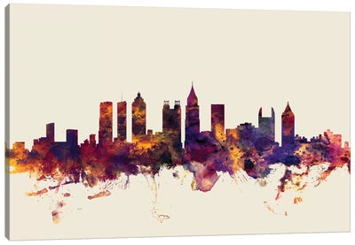 Atlanta, Georgia, USA On Beige Canvas Art Print