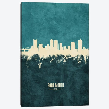 Fort Worth Texas Skyline Canvas Print #MTO1870} by Michael Tompsett Art Print