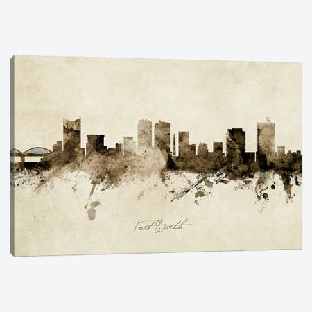 Fort Worth Texas Skyline Canvas Print #MTO1871} by Michael Tompsett Art Print