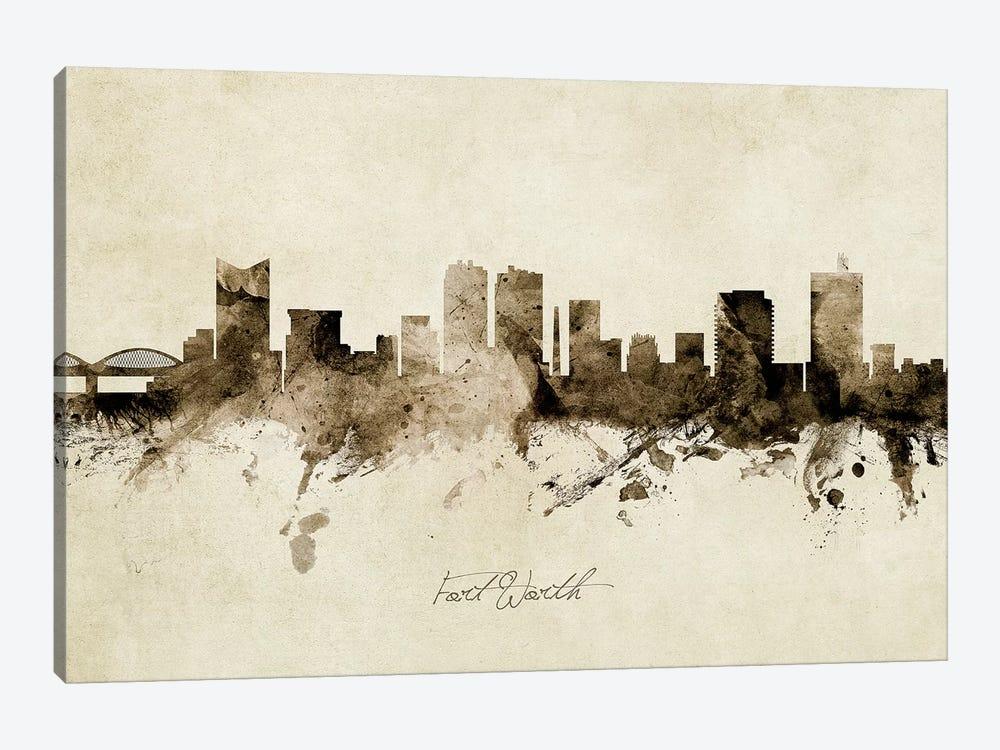 Fort Worth Texas Skyline by Michael Tompsett 1-piece Canvas Artwork