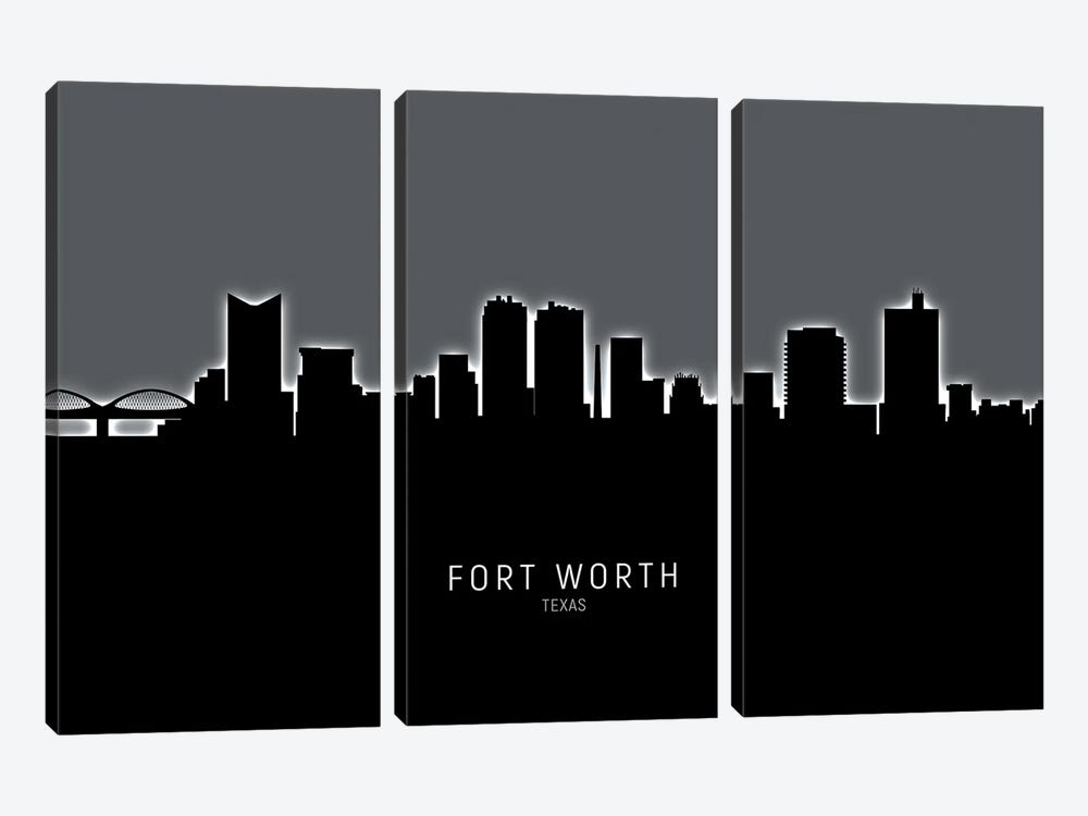 Fort Worth Texas Skyline by Michael Tompsett 3-piece Canvas Print