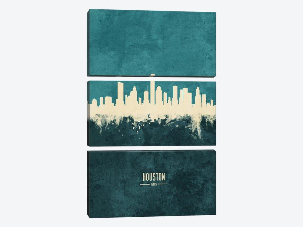 Houston Texas Skyline by Michael Tompsett 3-piece Canvas Art