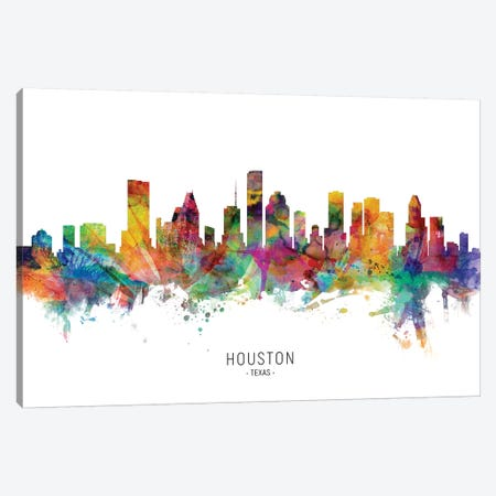 Houston Texas Skyline Canvas Print #MTO1878} by Michael Tompsett Canvas Art Print