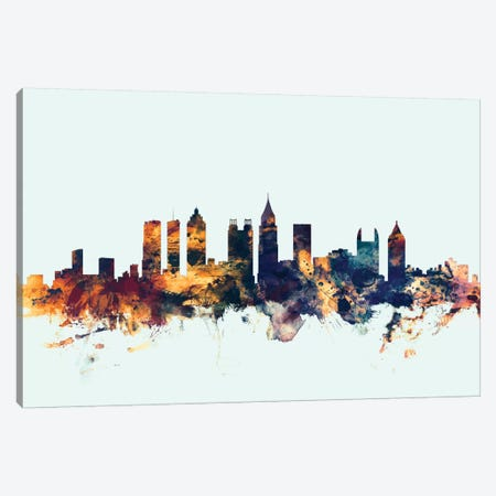 Atlanta, Georgia, USA On Blue Canvas Print #MTO187} by Michael Tompsett Canvas Art Print