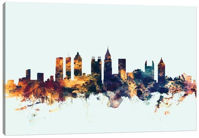 Skyline Series: Atlanta, Georgia, USA On Blue Canvas Print #MTO187