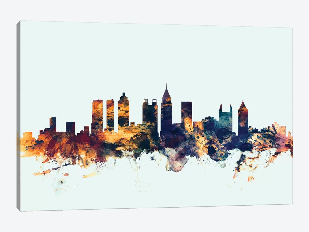 Skyline Series: Atlanta, Georgia, USA On Blue by Michael Tompsett 1-piece Art Print