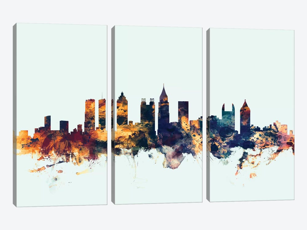 Skyline Series: Atlanta, Georgia, USA On Blue by Michael Tompsett 3-piece Canvas Art Print
