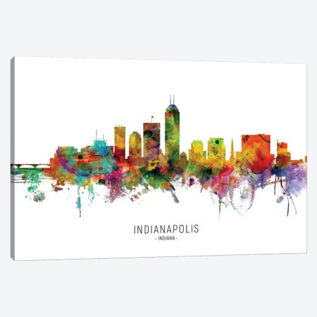 Indianapolis Indiana Skyline Canvas Print #MTO1881} by Michael Tompsett Canvas Wall Art