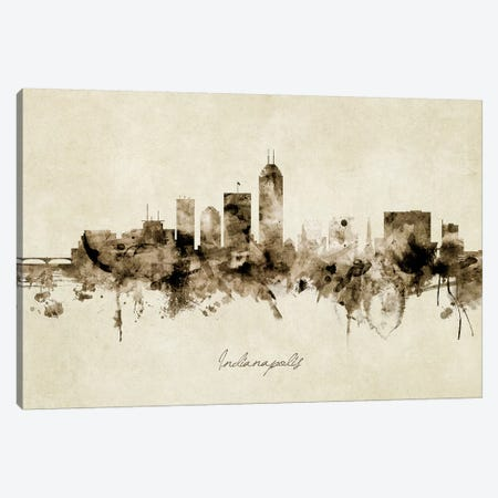 Indianapolis Indiana Skyline Canvas Print #MTO1883} by Michael Tompsett Canvas Artwork