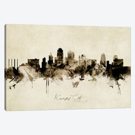 Kansas City Missouri Skyline Canvas Print #MTO1886} by Michael Tompsett Canvas Art Print