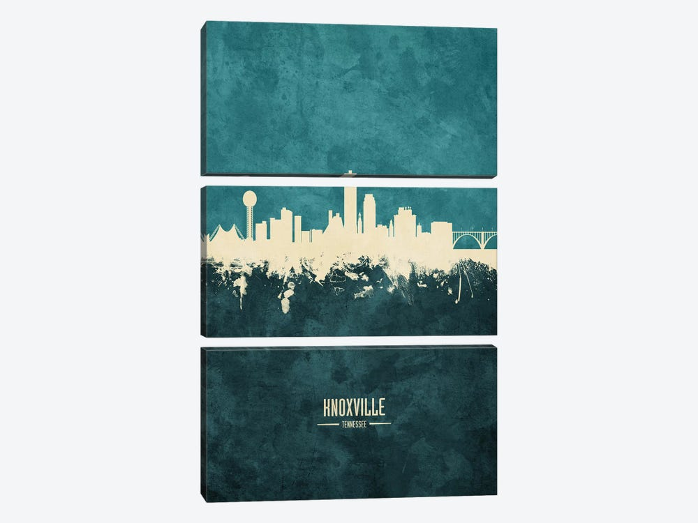 Knoxville Tennessee Skyline by Michael Tompsett 3-piece Canvas Art Print