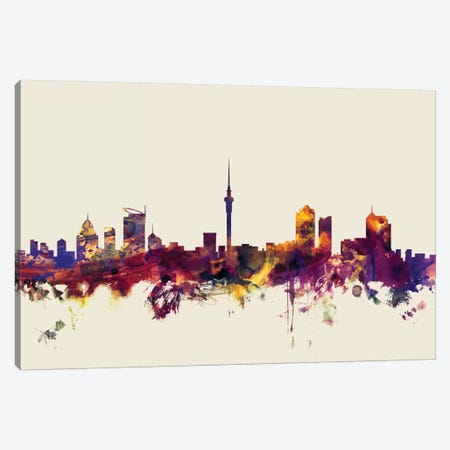 Auckland, New Zealand On Beige Canvas Print #MTO188} by Michael Tompsett Canvas Art