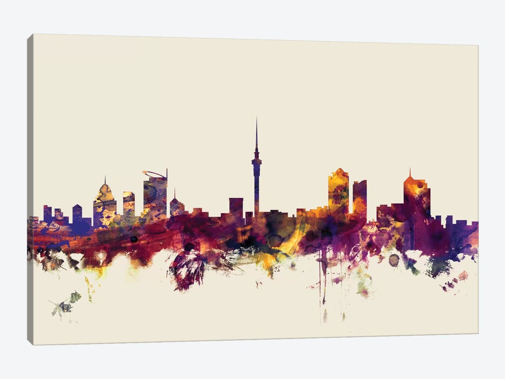Auckland, New Zealand On Beige by Michael Tompsett 1-piece Canvas Wall Art