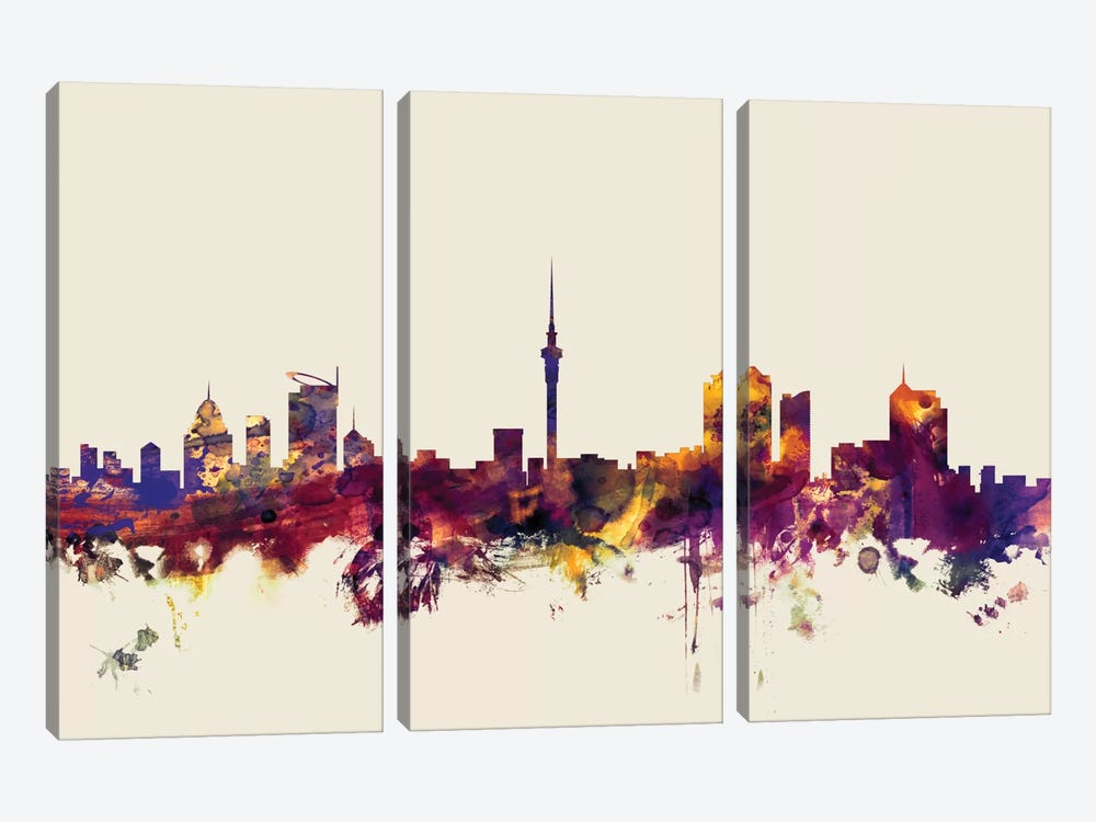 Auckland, New Zealand On Beige by Michael Tompsett 3-piece Canvas Artwork