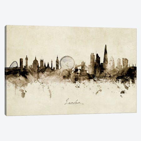 London England Skyline Canvas Print #MTO1897} by Michael Tompsett Canvas Artwork