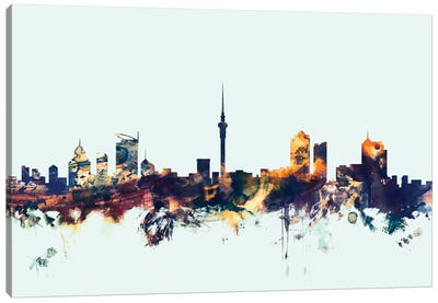 Skyline Series: Auckland, New Zealand On Blue Canvas Print #MTO189