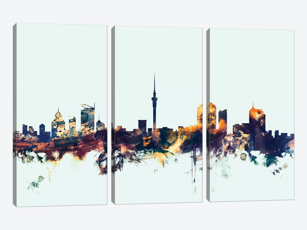 Skyline Series: Auckland, New Zealand On Blue 3-piece Canvas Print