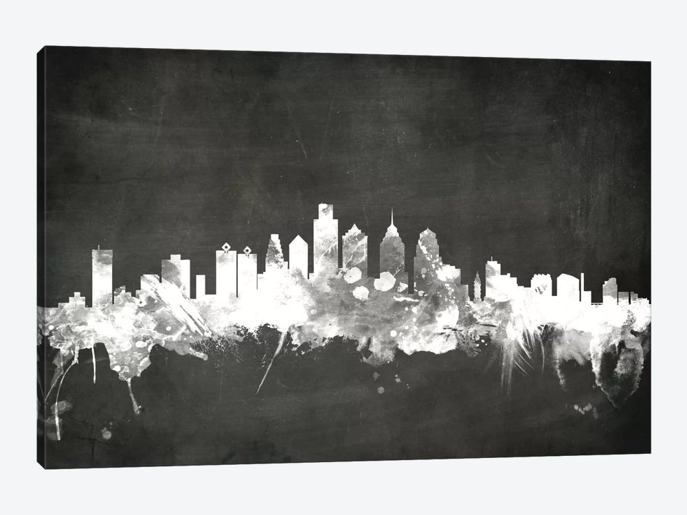 Blackboard Skyline Series: Philadelphia, Pennsylvania, USA by Michael Tompsett 1-piece Canvas Wall Art