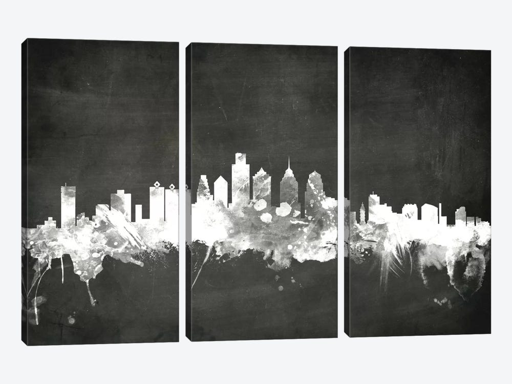 Blackboard Skyline Series: Philadelphia, Pennsylvania, USA by Michael Tompsett 3-piece Canvas Artwork