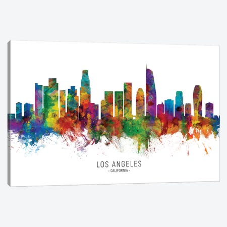 Los Angeles California Skyline Canvas Print #MTO1901} by Michael Tompsett Canvas Print