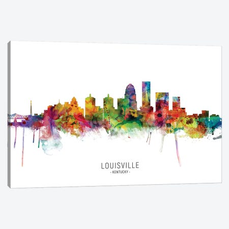 Louisville Kentucky City Skyline 3-Piece Canvas #MTO1904} by Michael Tompsett Canvas Wall Art