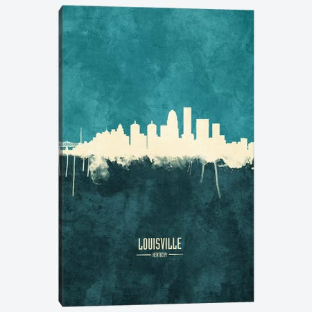 Louisville Kentucky City Skyline Canvas Print #MTO1905} by Michael Tompsett Canvas Art