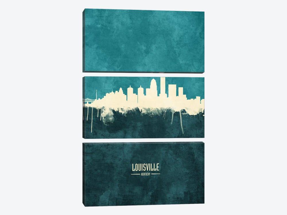 Louisville Kentucky City Skyline by Michael Tompsett 3-piece Canvas Art