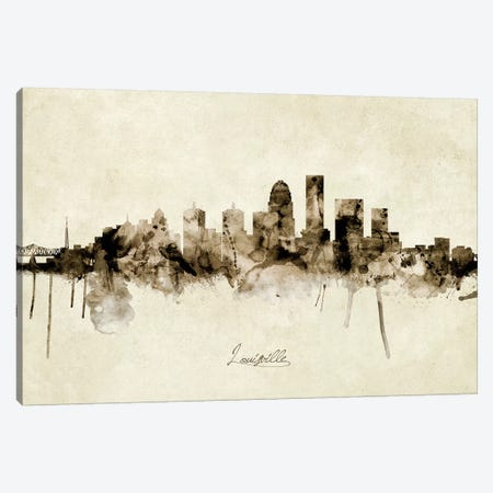 Louisville Kentucky City Skyline Canvas Print #MTO1906} by Michael Tompsett Canvas Art