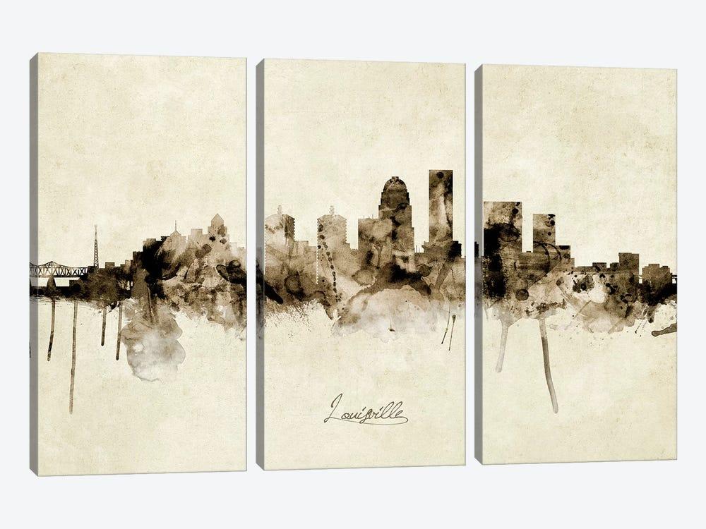 Louisville Kentucky City Skyline by Michael Tompsett 3-piece Canvas Print