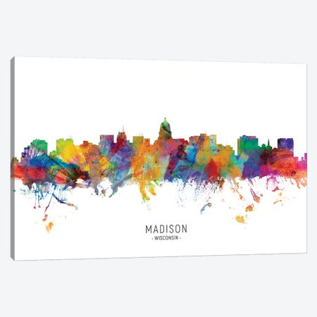 Madison Wisconsin Skyline Canvas Print #MTO1908} by Michael Tompsett Canvas Art Print