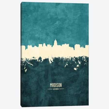 Madison Wisconsin Skyline Canvas Print #MTO1909} by Michael Tompsett Canvas Art Print