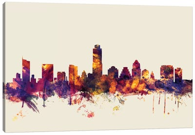 Skyline Series: Austin, Texas, USA On Beige Canvas Art Print