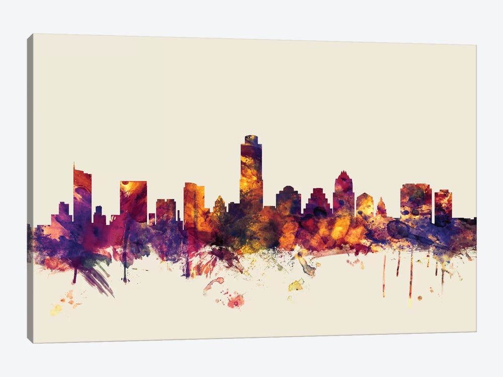 Austin, Texas, USA On Beige by Michael Tompsett 1-piece Canvas Print