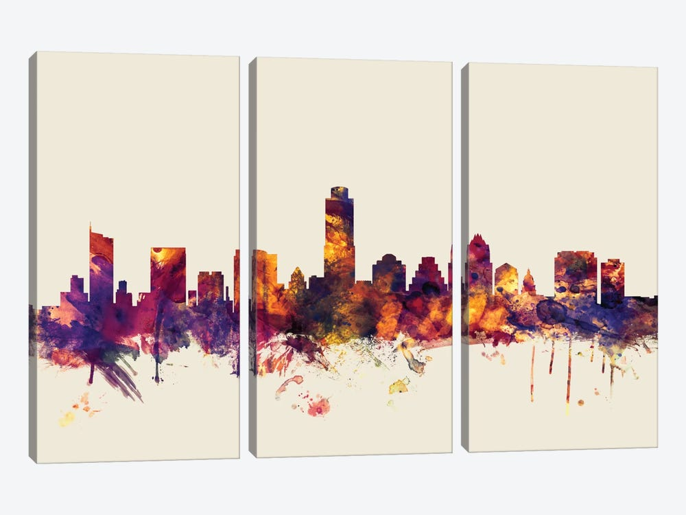 Austin, Texas, USA On Beige by Michael Tompsett 3-piece Canvas Print