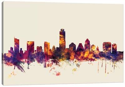 Austin, Texas, USA On Beige Canvas Art Print