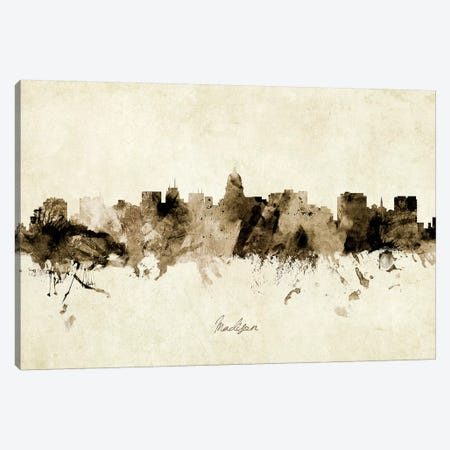 Madison Wisconsin Skyline Canvas Print #MTO1910} by Michael Tompsett Canvas Wall Art