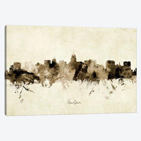 Madison Wisconsin Skyline Canvas Print #MTO1910} by Michael Tompsett Canvas Wall Art
