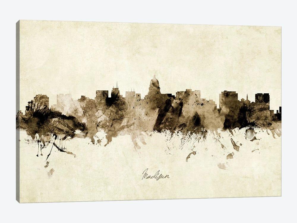 Madison Wisconsin Skyline by Michael Tompsett 1-piece Canvas Artwork