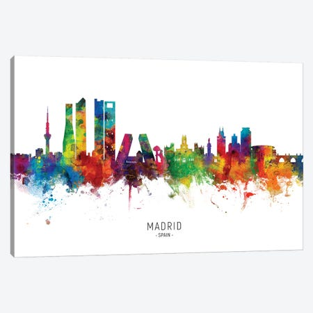 Madrid Spain Skyline Canvas Print #MTO1912} by Michael Tompsett Canvas Artwork