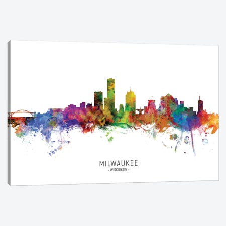 Milwaukee Wisconsin Skyline Canvas Print #MTO1919} by Michael Tompsett Canvas Artwork