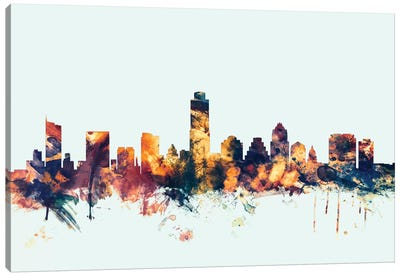 Skyline Series: Austin, Texas, USA On Blue Canvas Print #MTO191