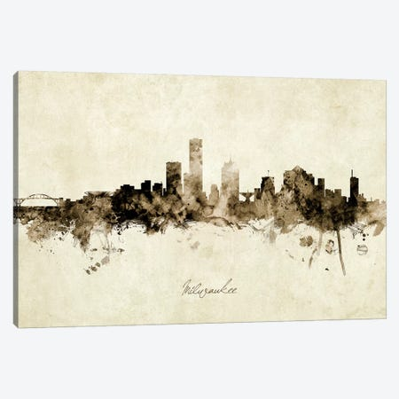 Milwaukee Wisconsin Skyline Canvas Print #MTO1921} by Michael Tompsett Art Print