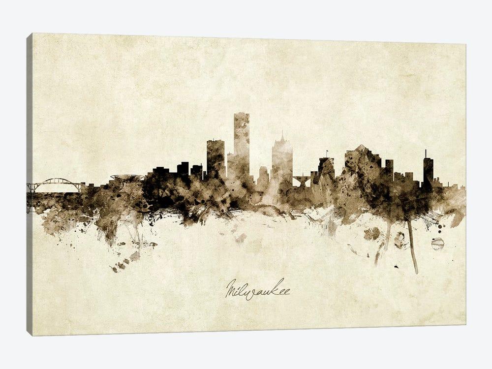 Milwaukee Wisconsin Skyline by Michael Tompsett 1-piece Canvas Artwork