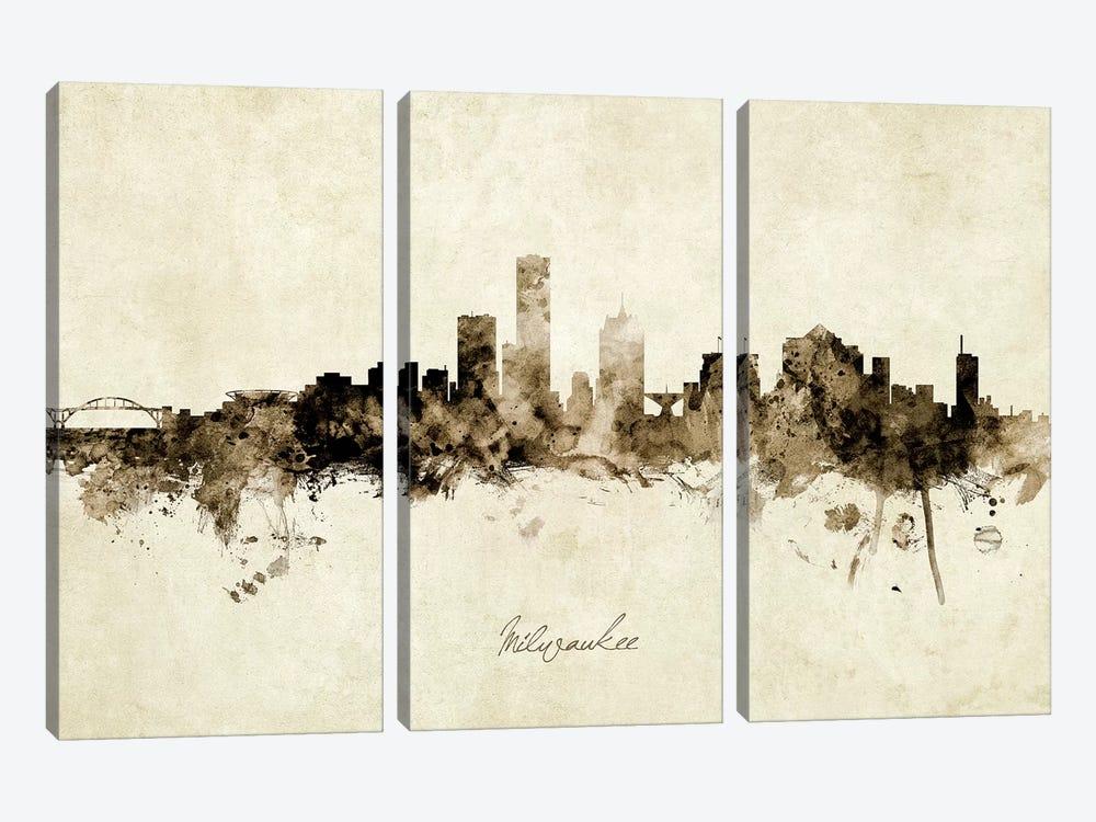 Milwaukee Wisconsin Skyline by Michael Tompsett 3-piece Canvas Artwork
