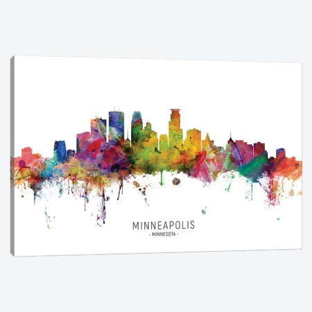 Minneapolis Minnesota Skyline Canvas Print #MTO1923} by Michael Tompsett Art Print