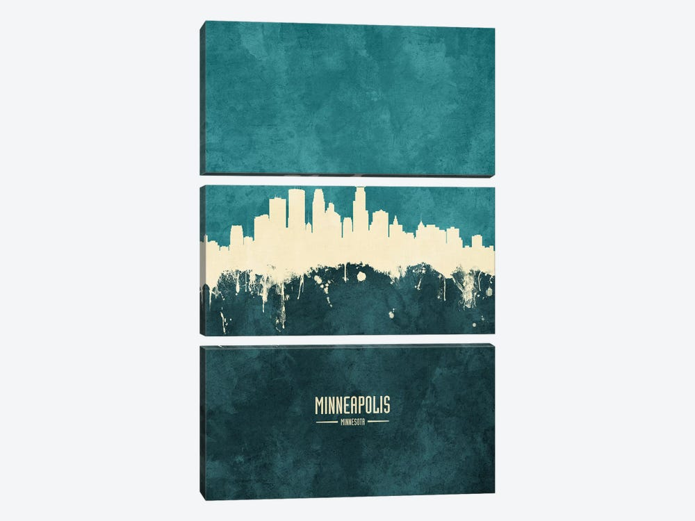Minneapolis Minnesota Skyline by Michael Tompsett 3-piece Canvas Print