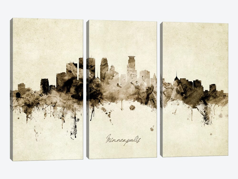 Minneapolis Minnesota Skyline by Michael Tompsett 3-piece Canvas Art