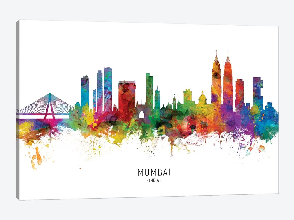 Mumbai Skyline India Bombay by Michael Tompsett 1-piece Canvas Wall Art