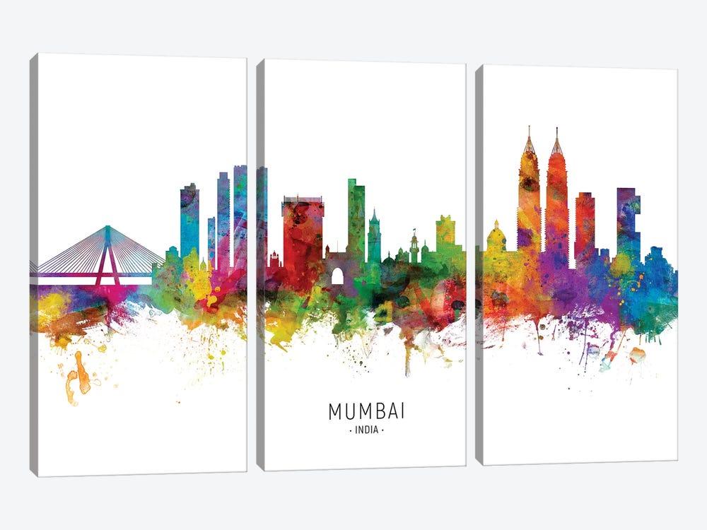 Mumbai Skyline India Bombay by Michael Tompsett 3-piece Canvas Artwork
