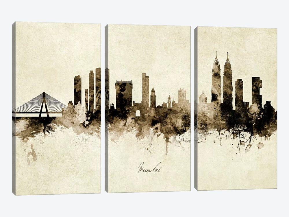 Mumbai Skyline India Bombay by Michael Tompsett 3-piece Canvas Art